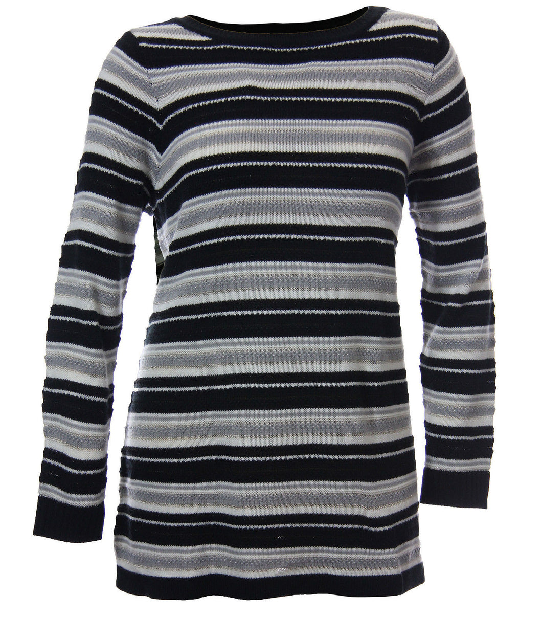 Charter Club Multi Color Striped Long Sleeve Pull Over Sweater