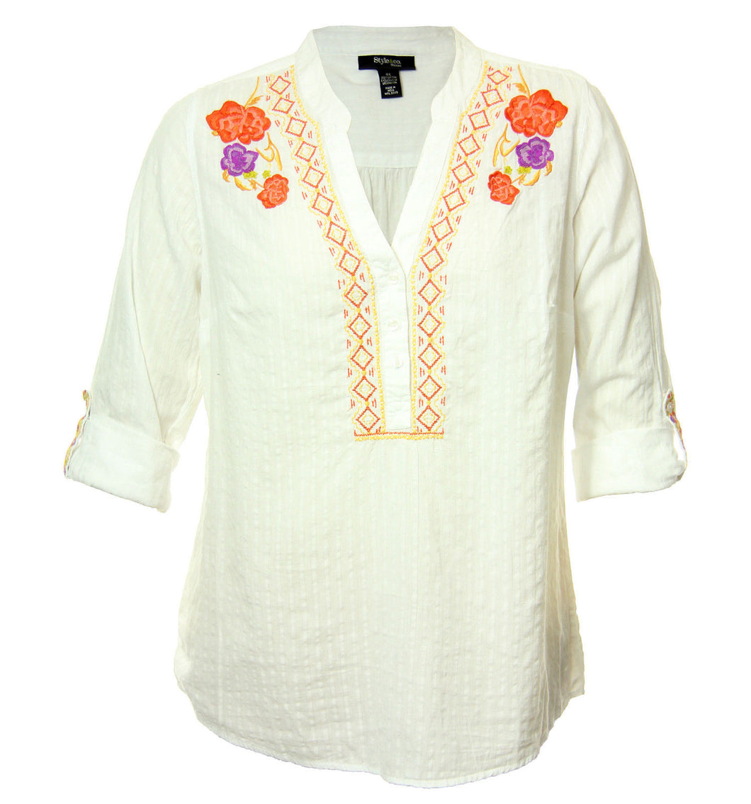 Style & Co White Convertible Sleeve Button Front Embroidered Tunic