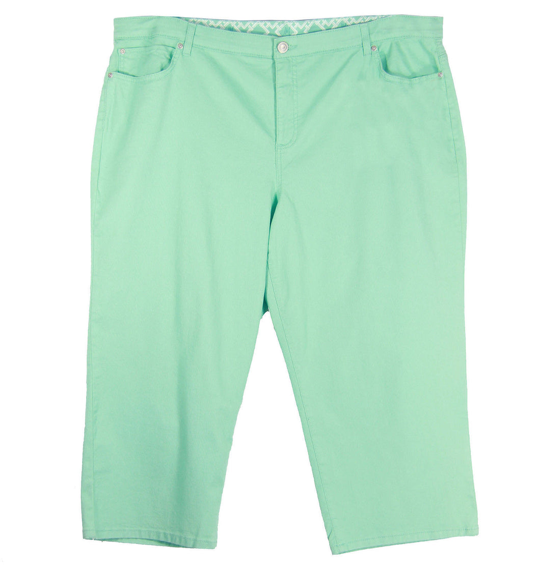 JM Collection Light Green Denim Tummy Control Capri Jeans