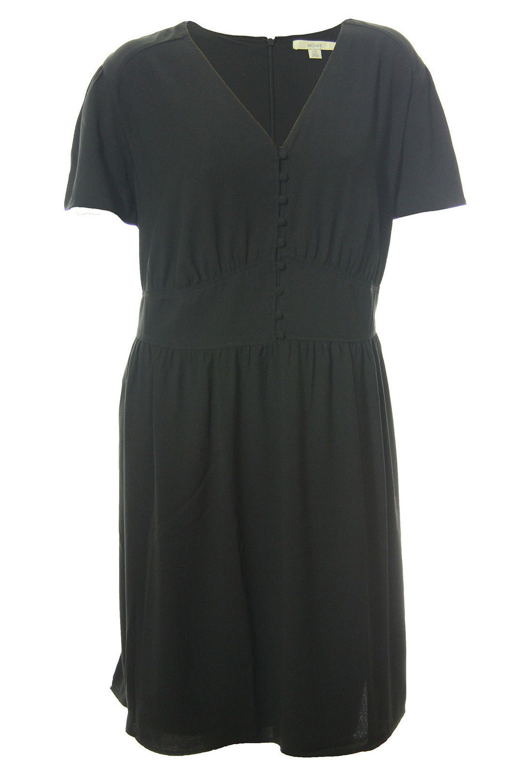 Sejour Black Flutter Sleeve Button Front Dress