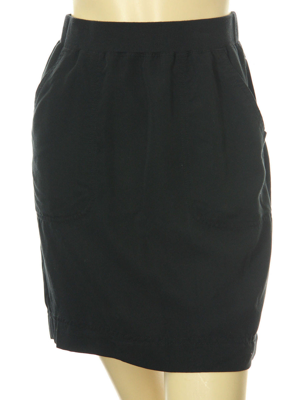 Studio M Black Elastic Waist Pull On Twill Skirt