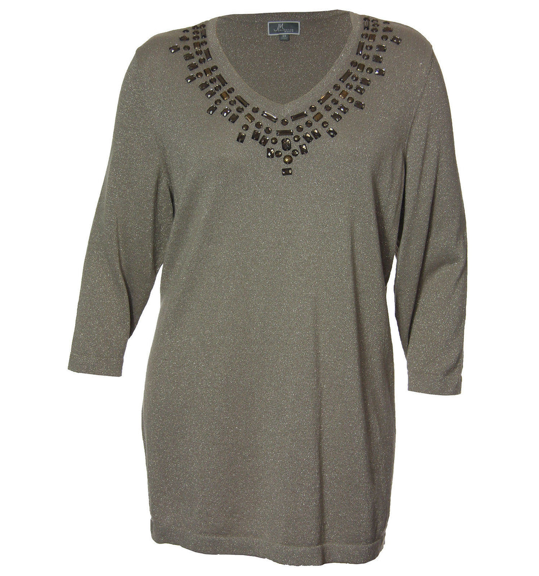 JM Collection Beige 3/4 Sleeve Beaded Pull Over Sweater
