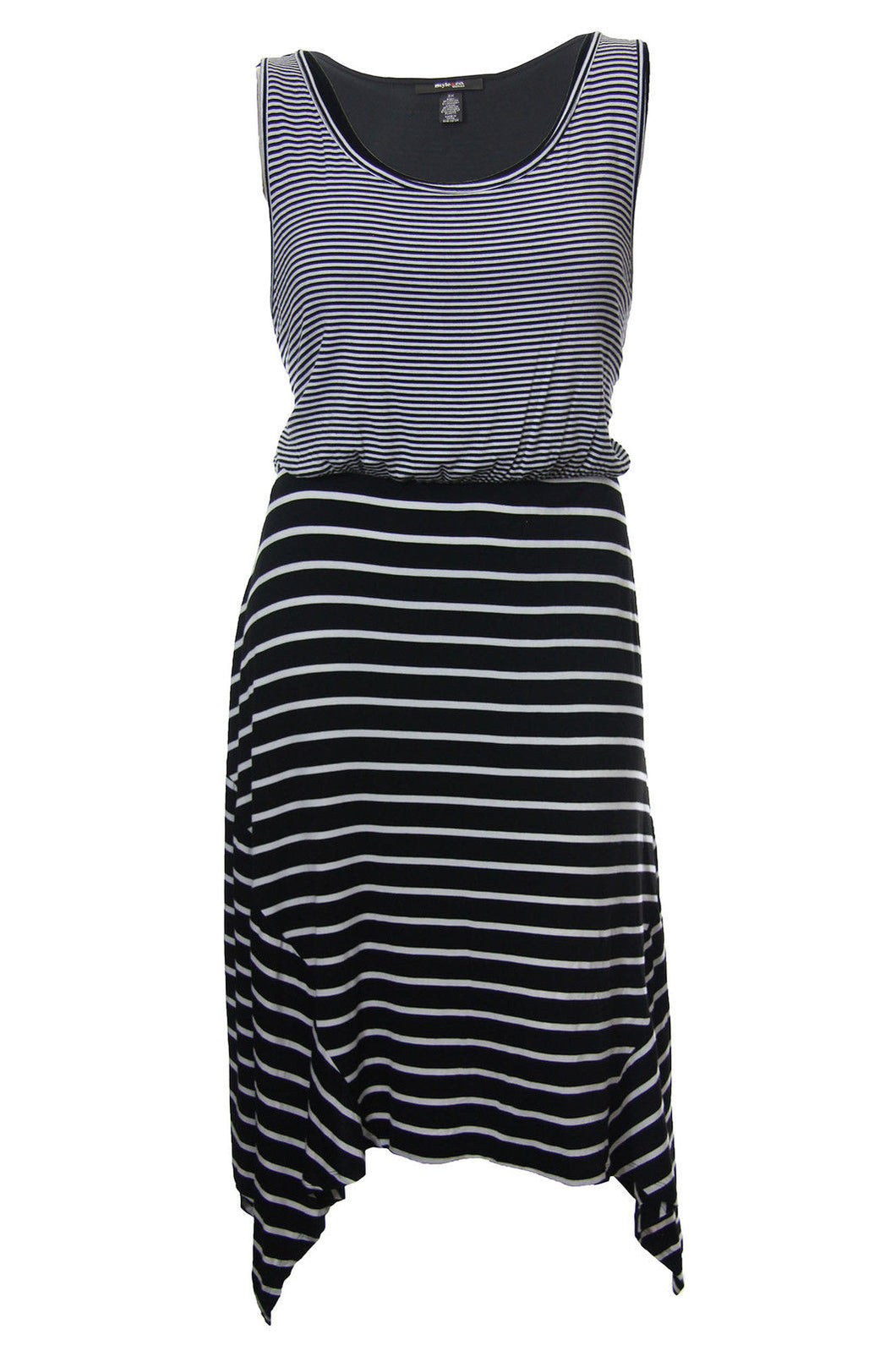 Style & Co Multi Color Striped Sleeveless Sharkbite Hem Dress