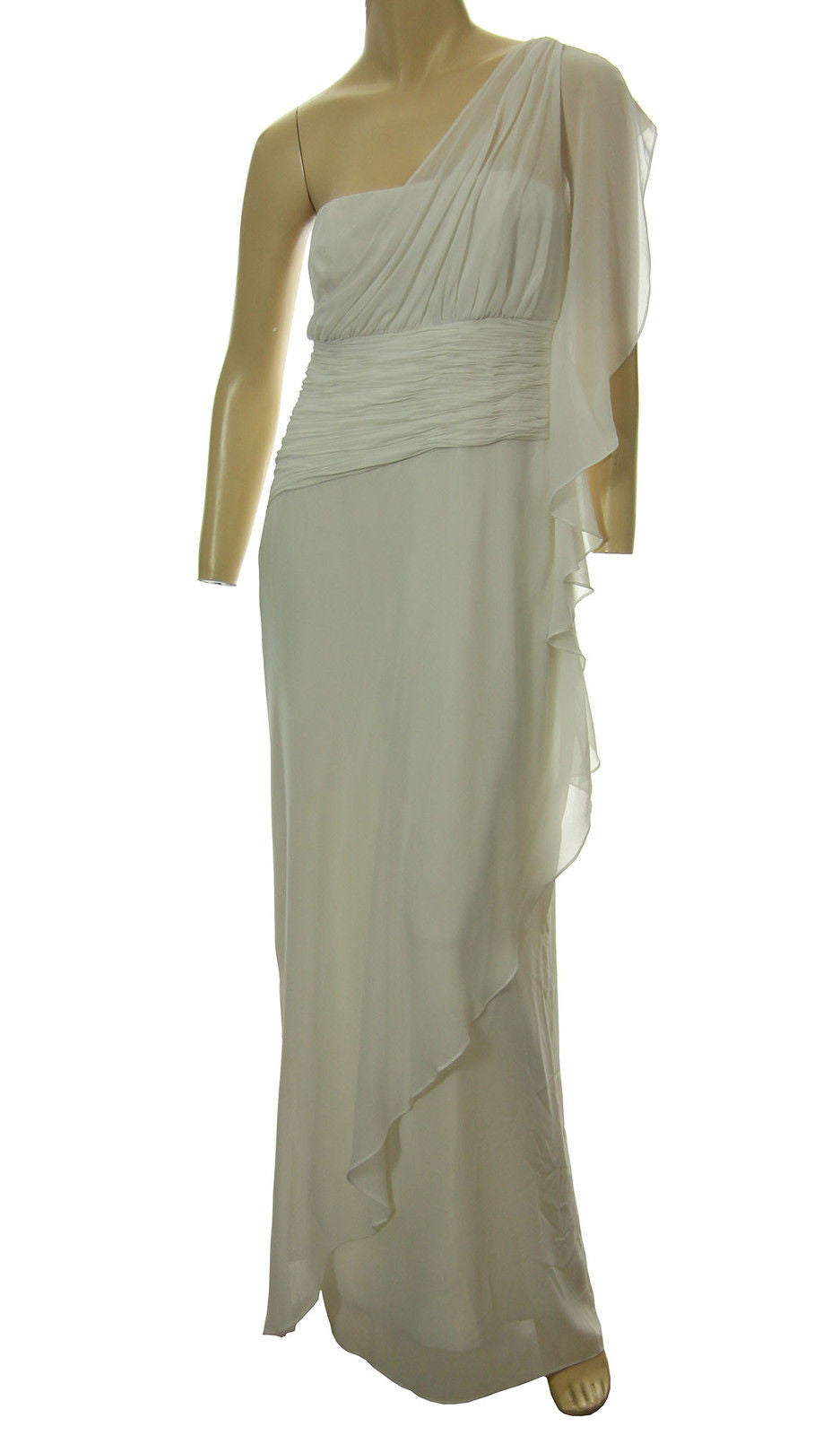Ralph Lauren White One Shoulder Gathered Full Length Formal Gown Dress