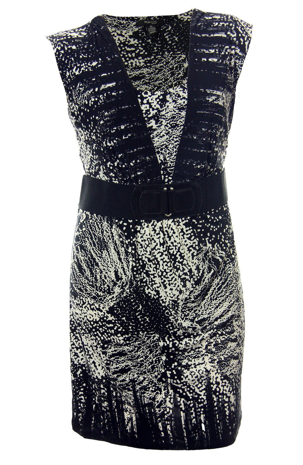 Style & Co Multi Color Abstract Print Sleeveless Faux Belted Dress