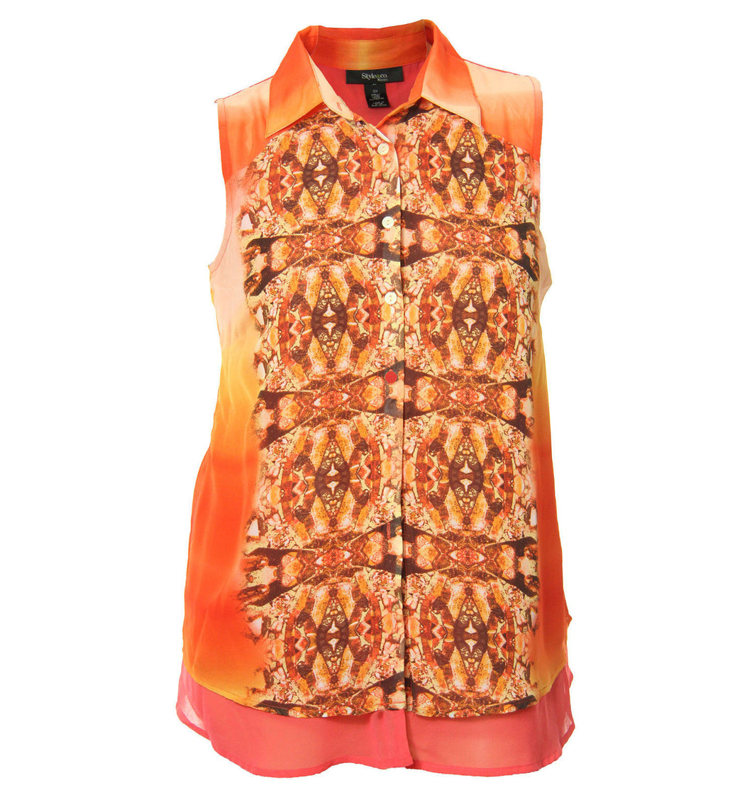 Style & Co Multi Color Print Sleeveless Button Down Chiffon Shirt