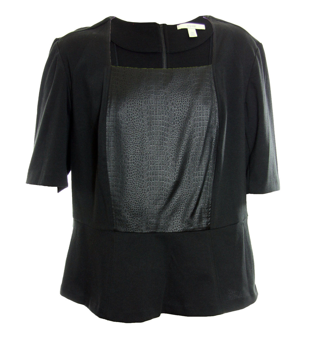 Sejour Black Snake Print Short Sleeve Peplum Knit Top