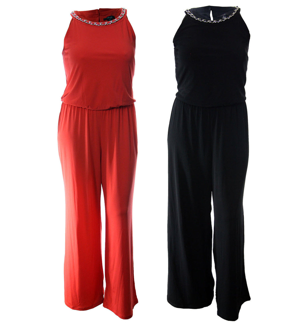 Style & Co Orange or Black Sleeveless Chain Trim Halter Jumpsuit