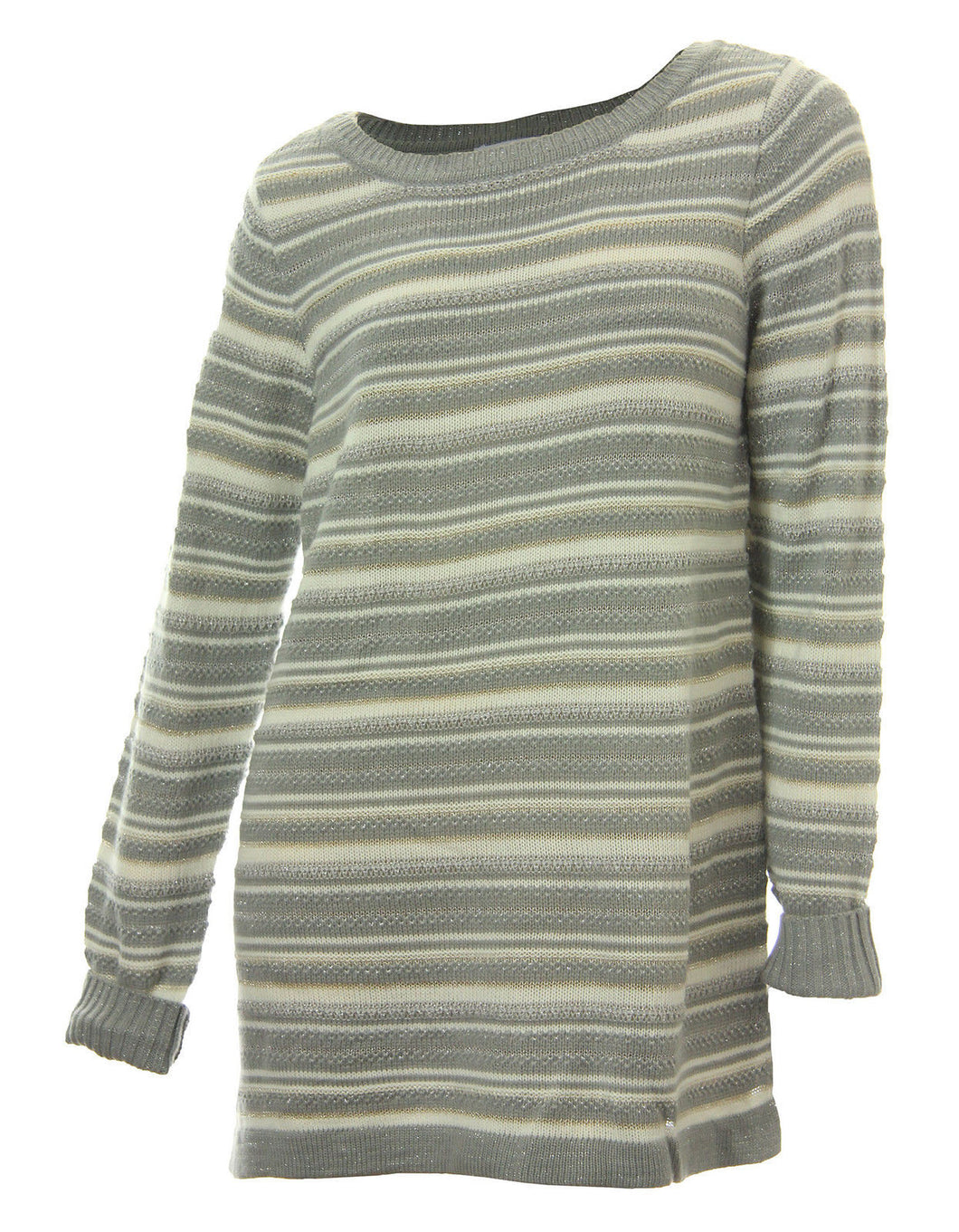 Charter Club Multi Color Striped Long Sleeve Tunic Sweater