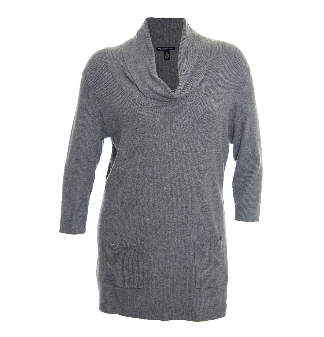 INC Gray 3/4 Sleeve Cowl Neck Textured Tunic Lightweight Sweater