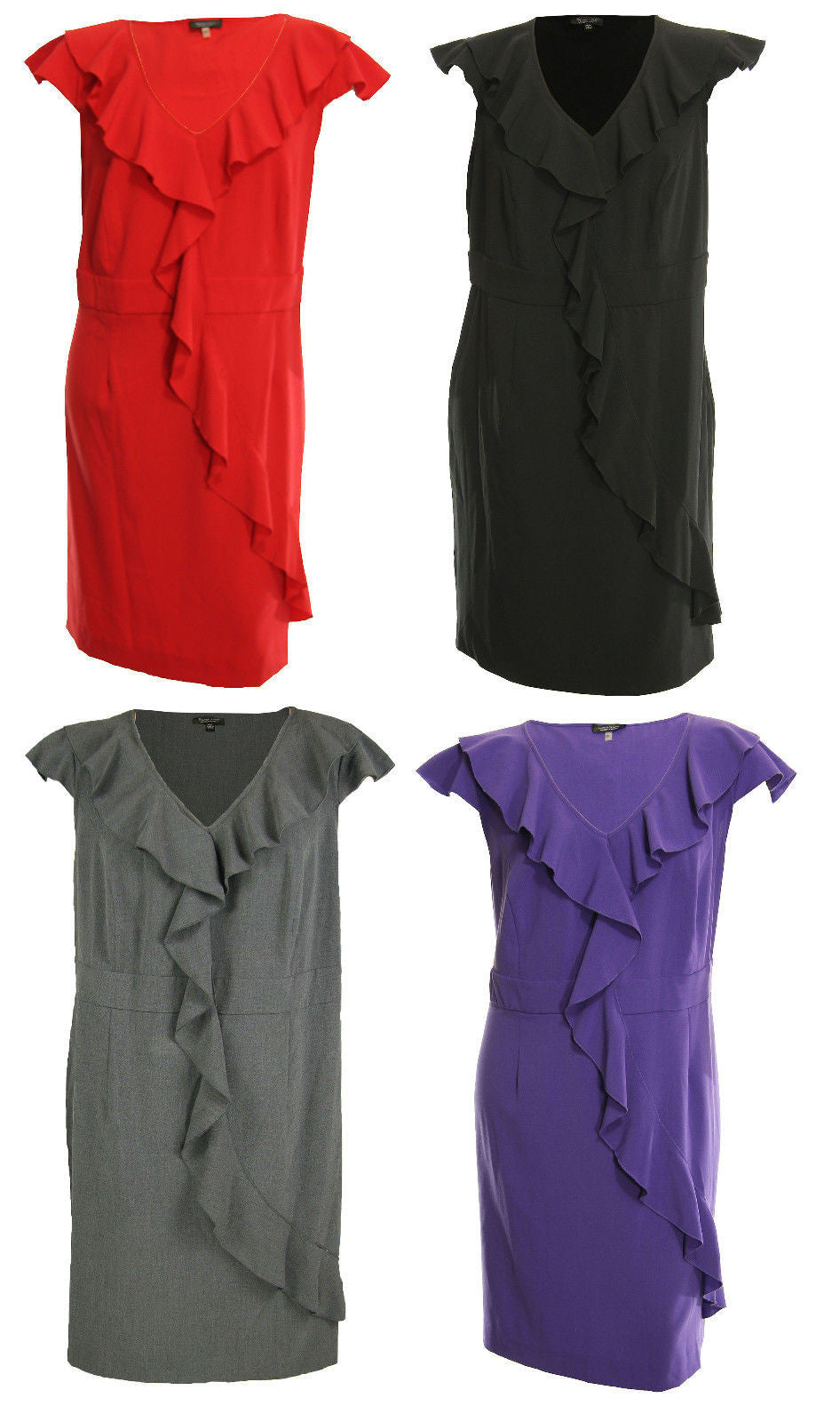 Spense Red Black or Purple Cap Sleeve Cascading Ruffle Dress