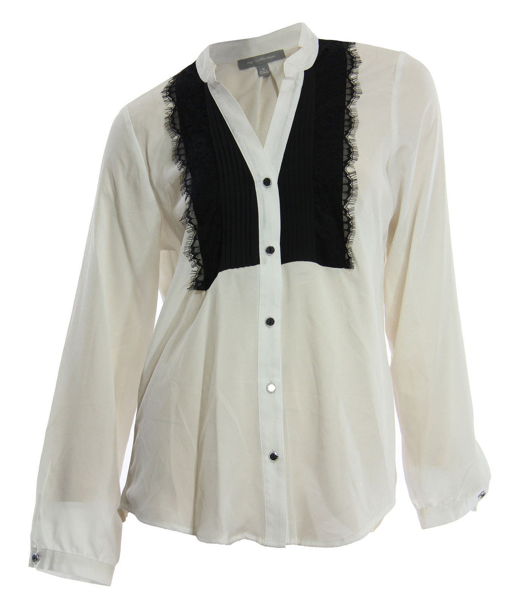 NY Collection White Long Sleeve Lace Bib Front Button Down Shirt