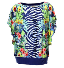 JM Collection Multi Color Floral Animal Short Sleeve Knit Top