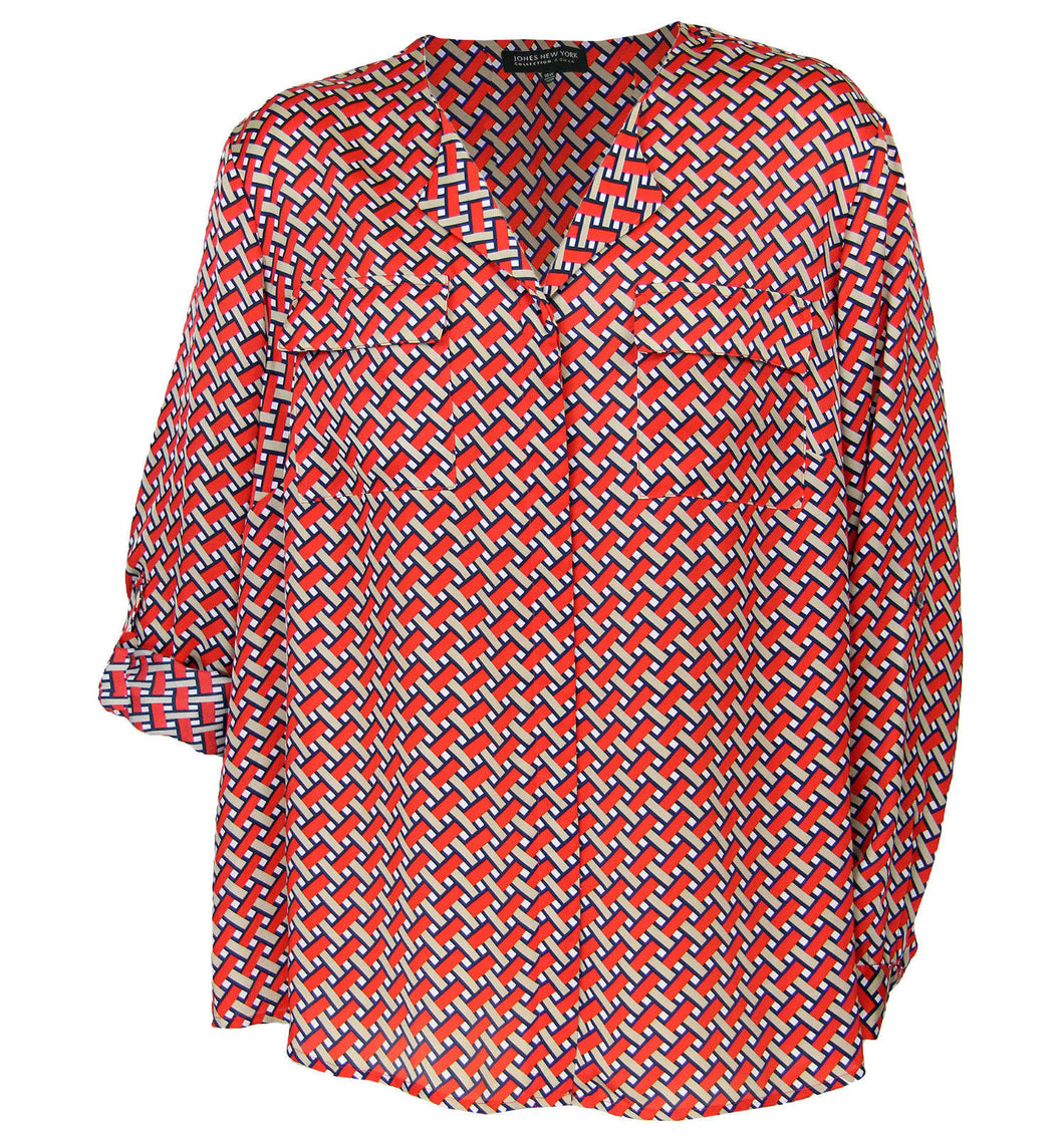 Jones New York Multi Color Print Convertible Slv Button Down Shirt