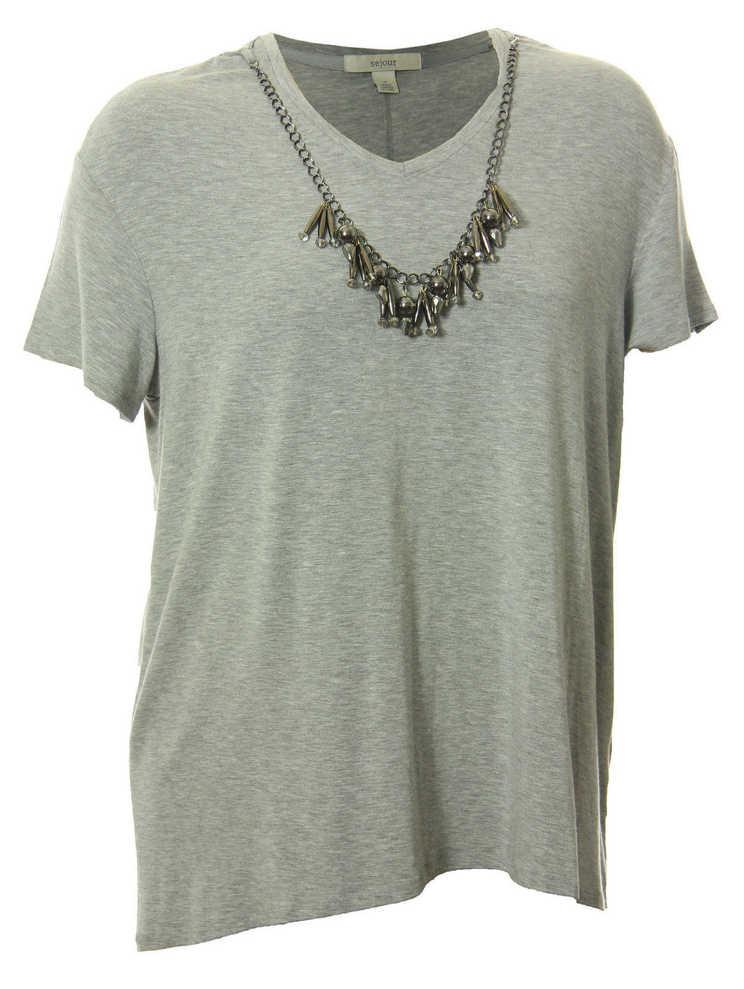 Sejour Gray Short Sleeve Necklace Embellished Knit Top Shirt