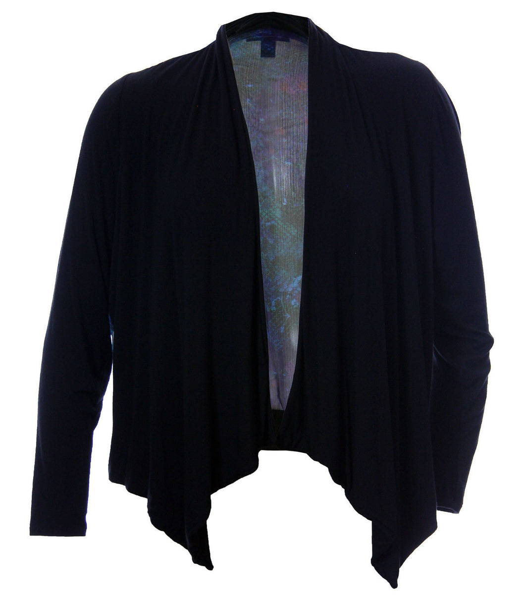 INC Black Knit Front & Multi Back Long Sleeve Open Front Cardigan
