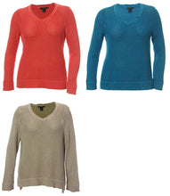 Style & Co Coral Blue or Beige Long Sleeve V-Neck Textured Sweater