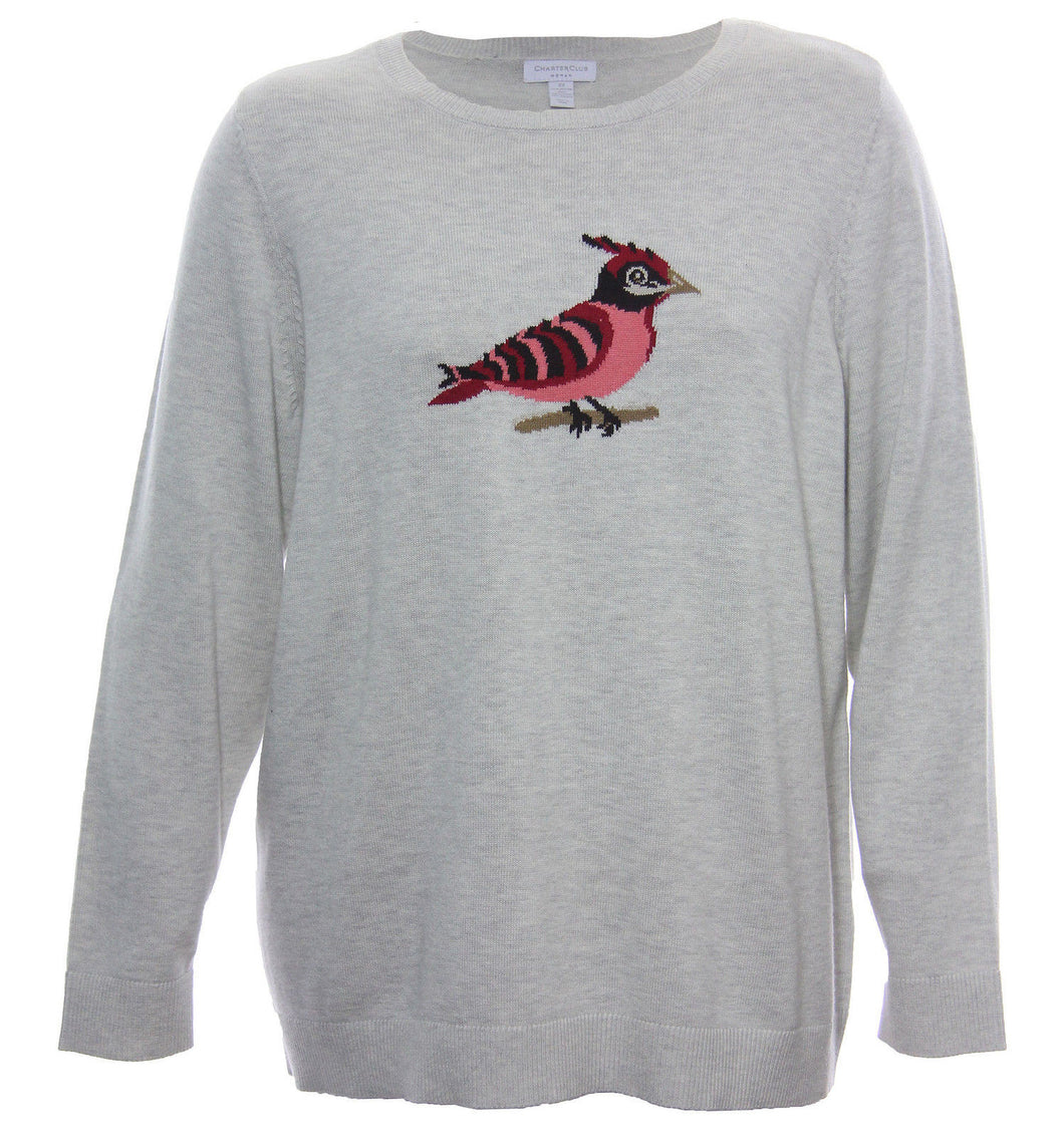 Charter Club Multi Color Bird Graphic Long Sleeve Sweater