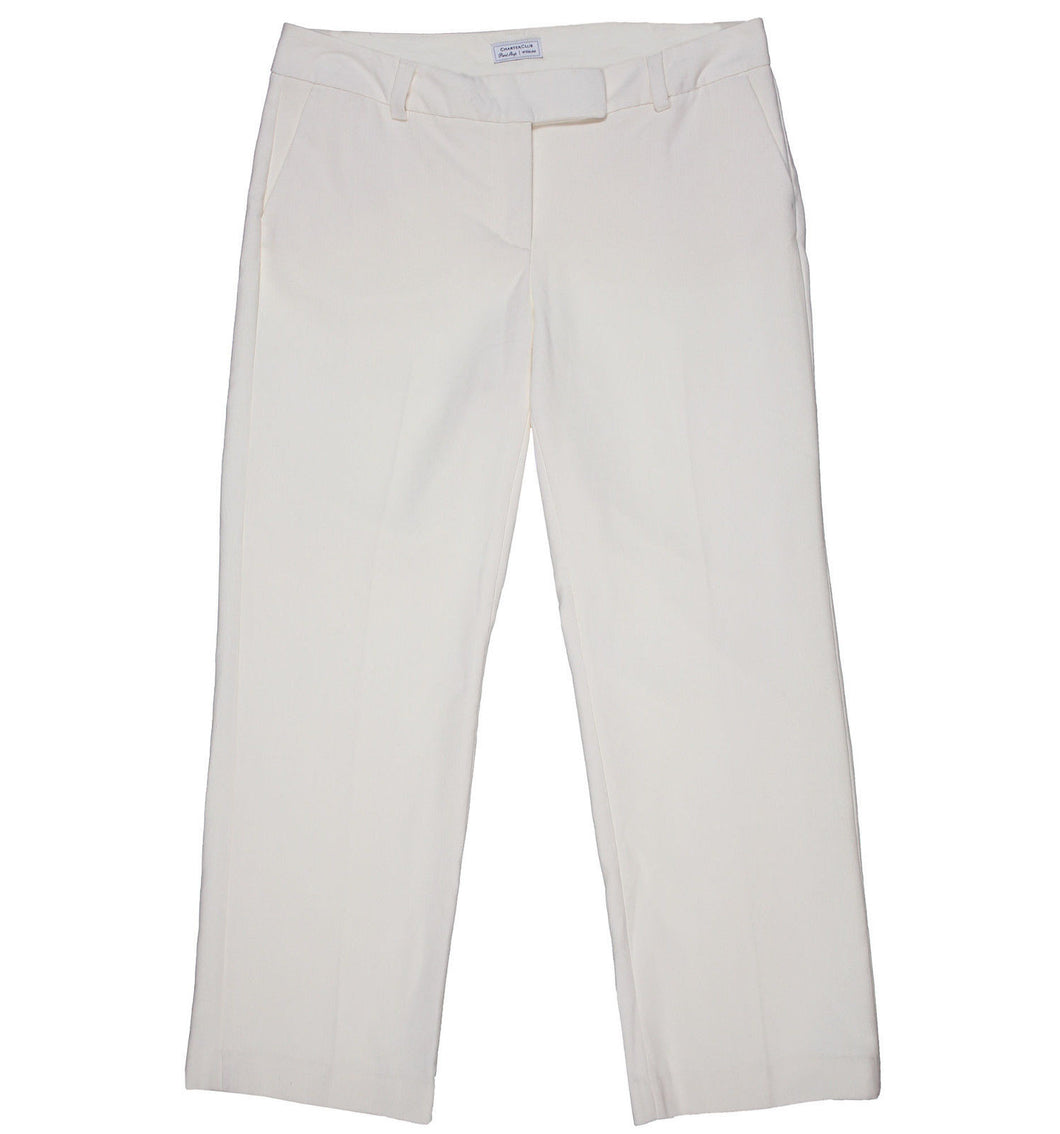 Charter Club Ivory Tummy Slimming Classic Fit Straight Pants