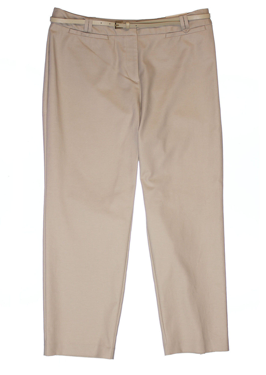 Charter Club Beige Tummy Slimming Slim Leg Belted Ankle Pants