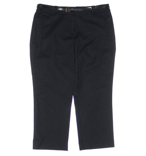Charter Club Black Tummy Slimming Belted Slim Leg Pants