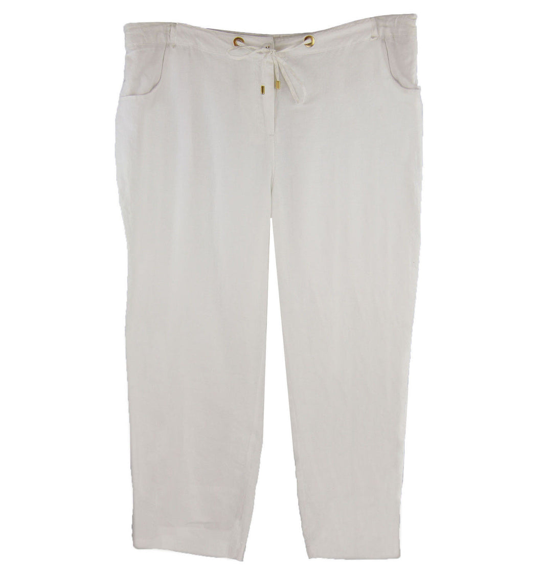 Charter Club White Classic Fit Cropped Casual Linen Pants