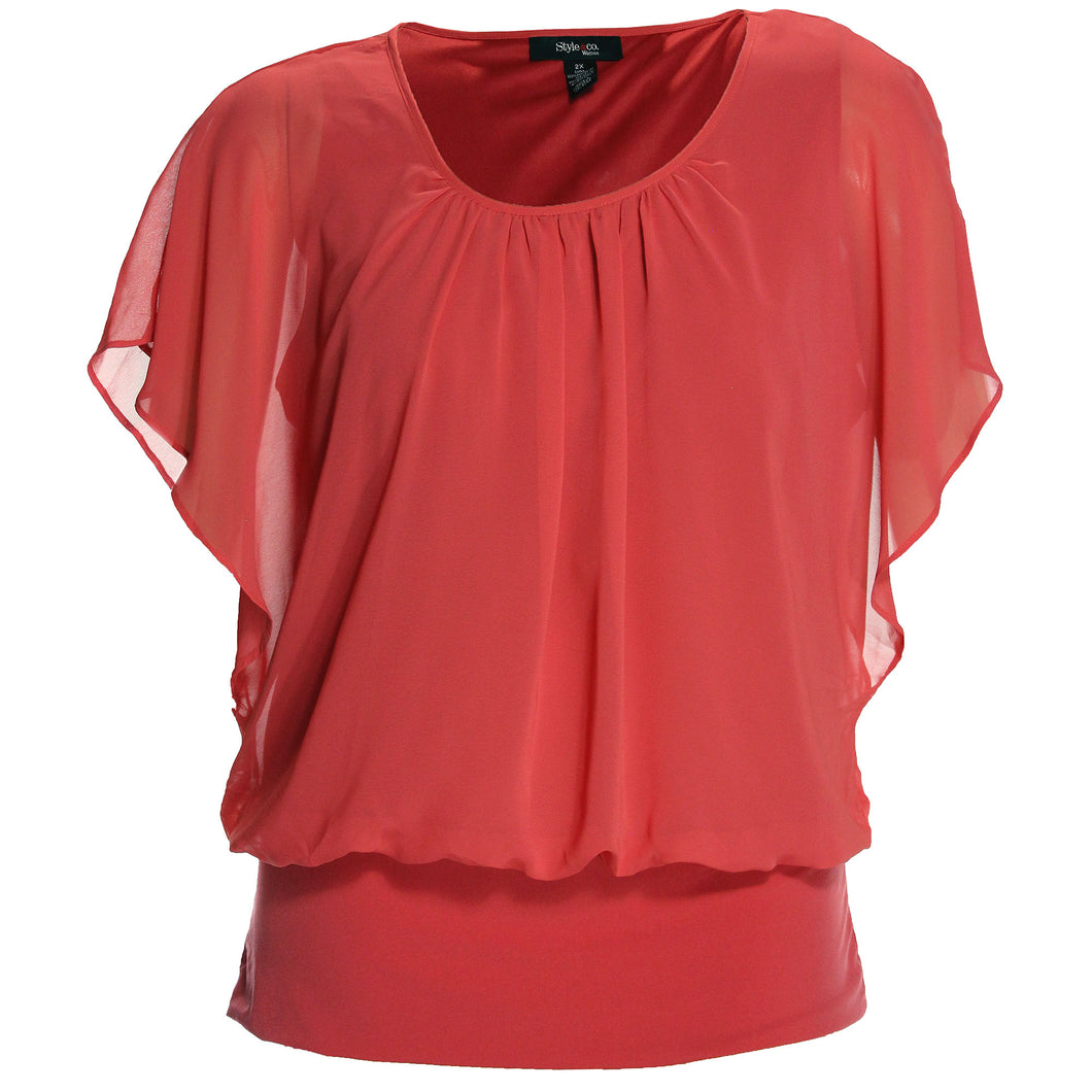 Style & Co Pink Flutter Sleeve Banded Chiffon Blouse