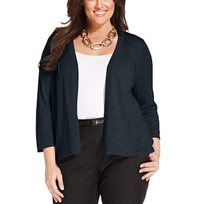 Charter Club Blue 3/4 Sleeve Open Front Cardigan Sweater Plus Size
