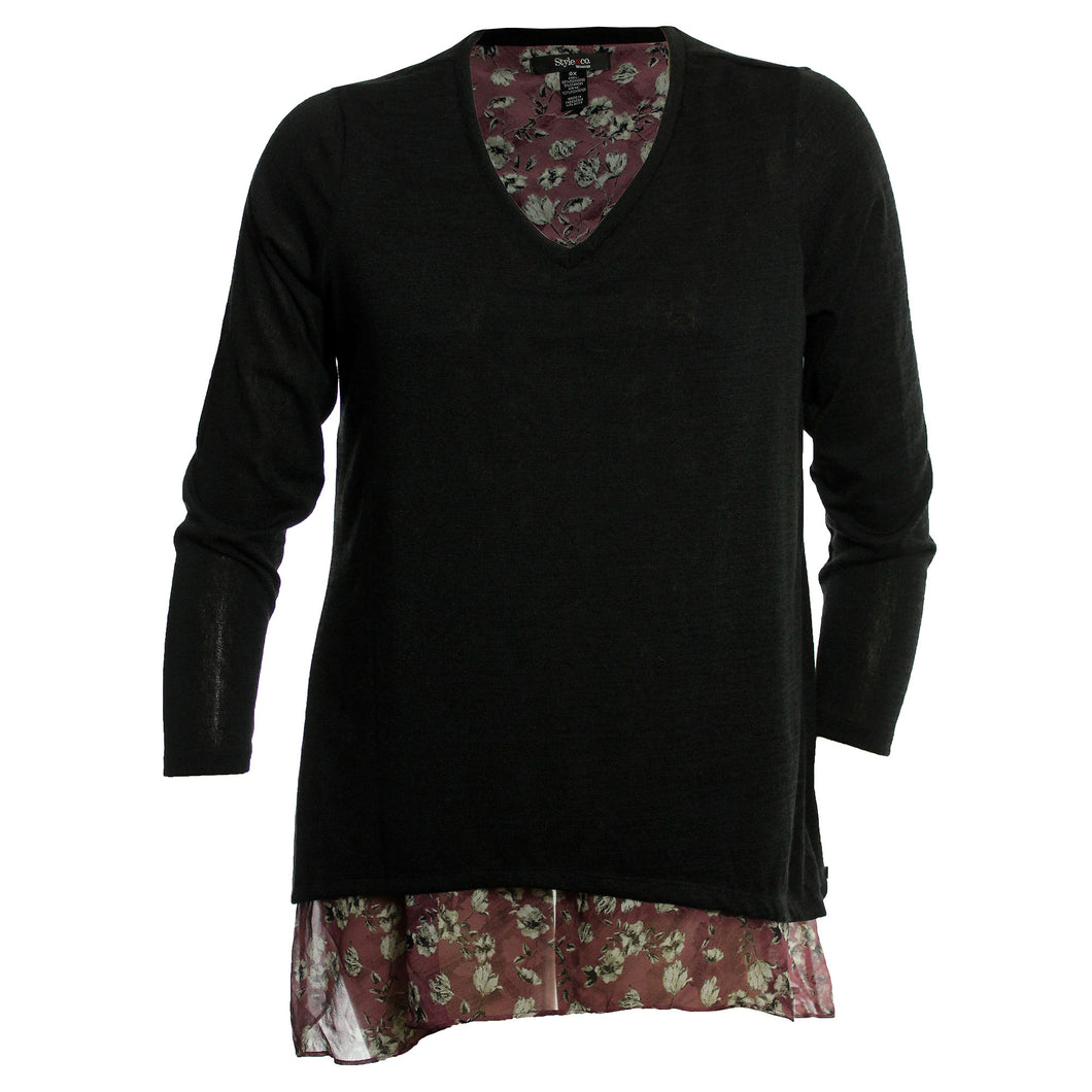 Style & Co. Multi Color Long Sleeve Layered Look Handkerchief Hem V-Neck Sweater