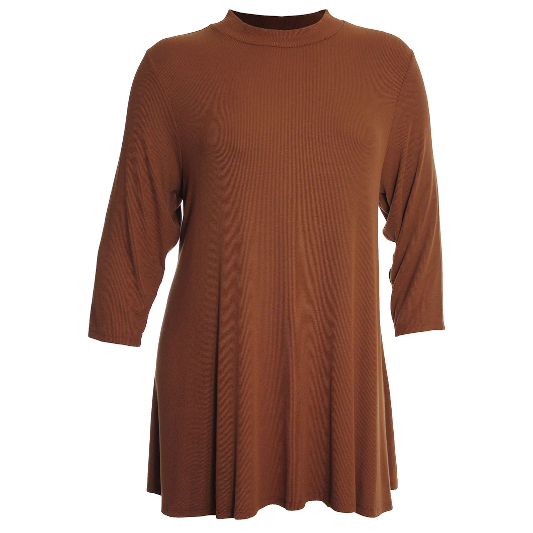 Style & Co Brown 3/4 Sleeve Ribbed Mock Neck Shirt