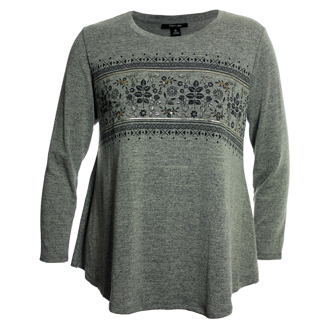 Style & Co Red or Grey Long Sleeve Printed Melange Shirt