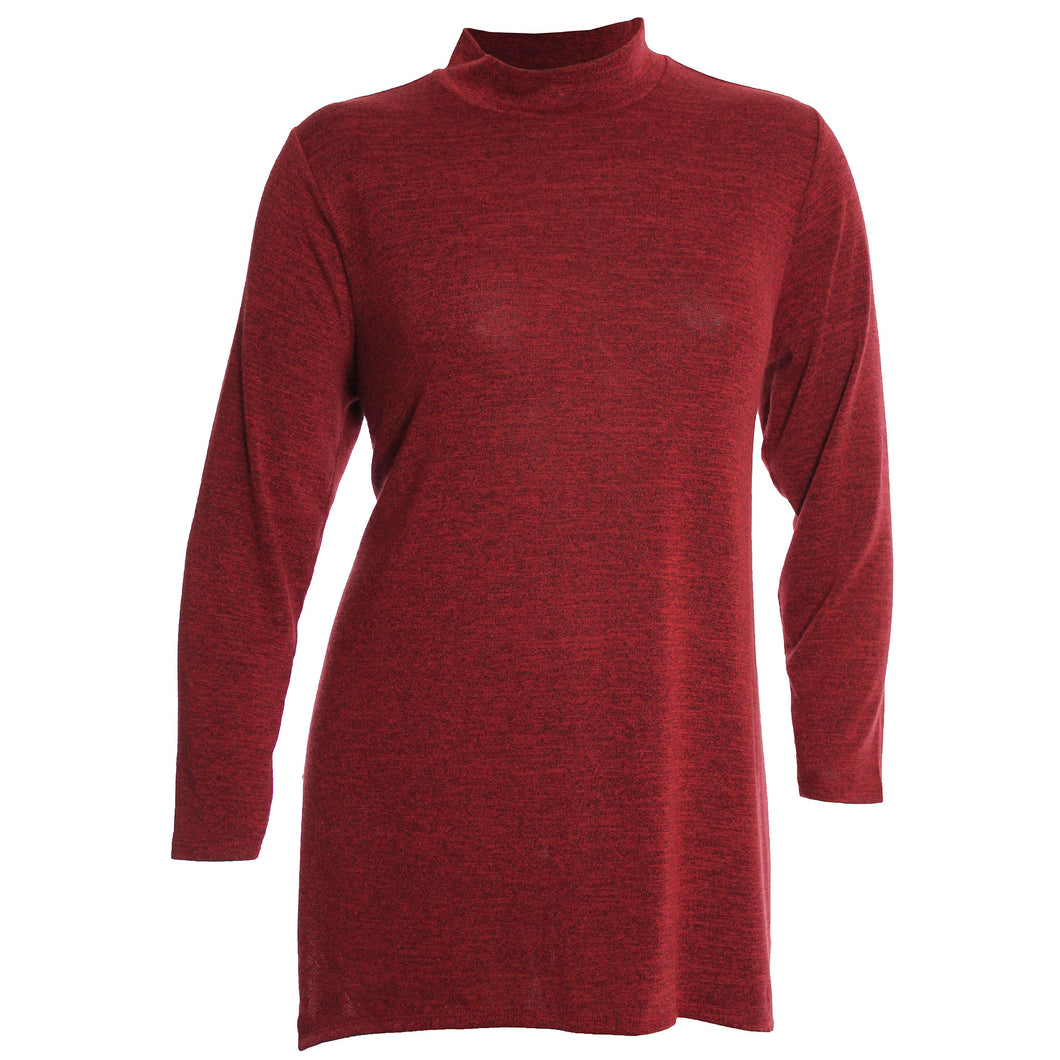 Style & Co. Red Melange Long Sleeve Mock Neck Shirt