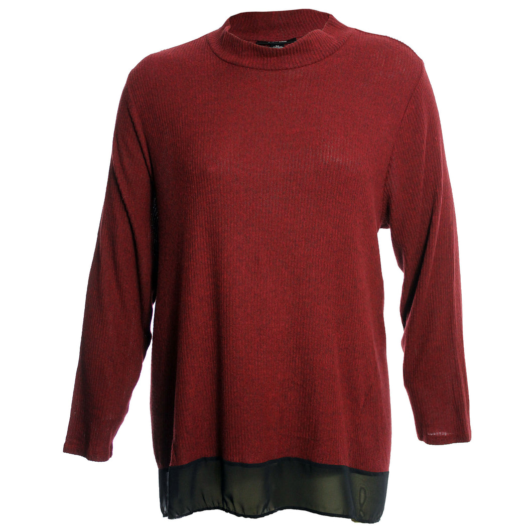 Style & Co. Red or Grey Long Sleeve Chiffon Hem Mock Turtleneck Sweater