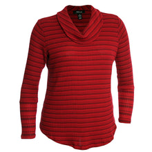 Style & Co Red Solid or Striped Long Sleeve Waffle Knit Cowl Neck Shirt