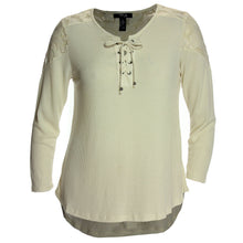 Style & Co Ivory or Burgundy Lace-Up Long Sleeve Lace Trim Top