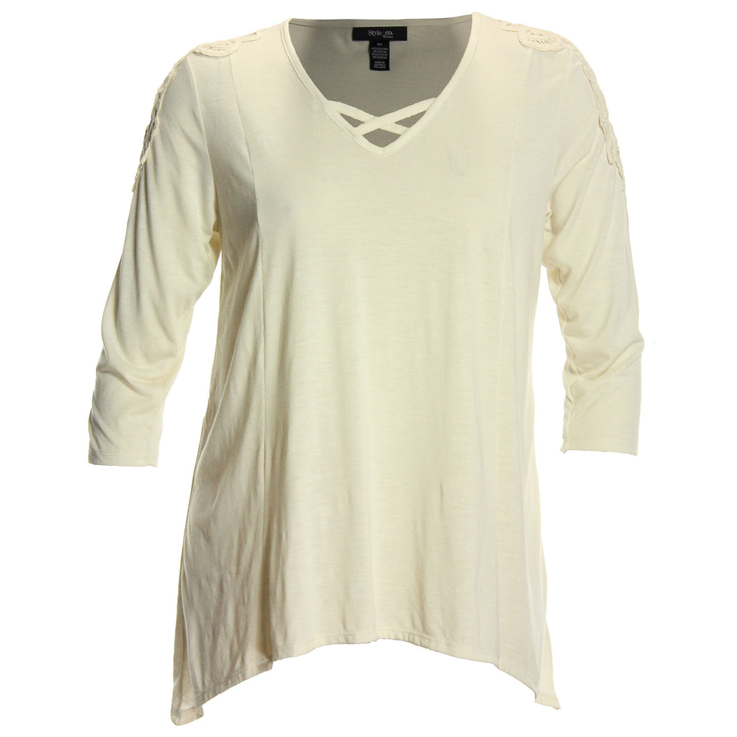 Style & Co Ivory, Blue, or Black 3/4 Lace Inset Sleeve Shark Bite Hem Top
