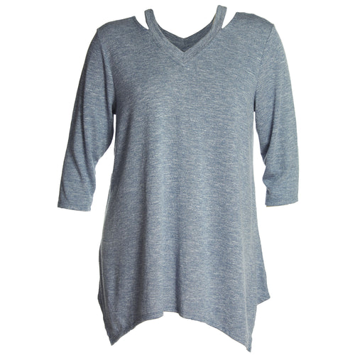 Style & Co Blue Long Sleeve Double V-Neck Sweater