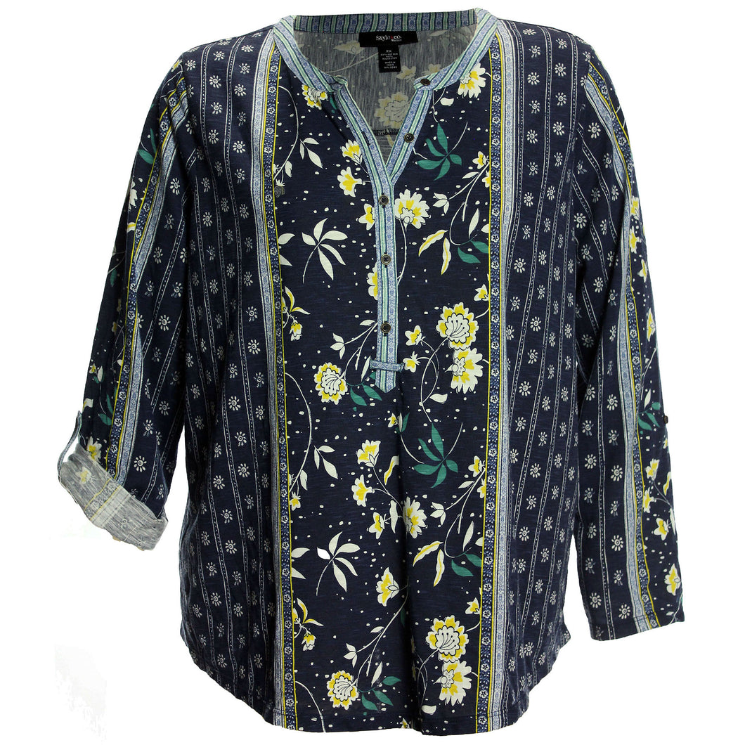 Style & Co Multi Color Floral Print 3/4 Sleeve Shirt