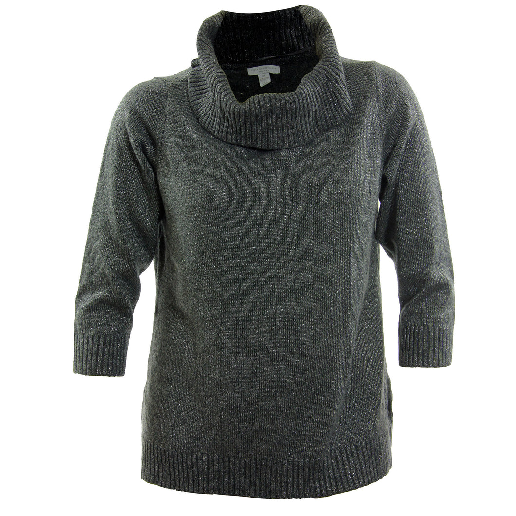Charter Club Grey Shimmer 3/4 Sleeve Cowl Neck Sweater