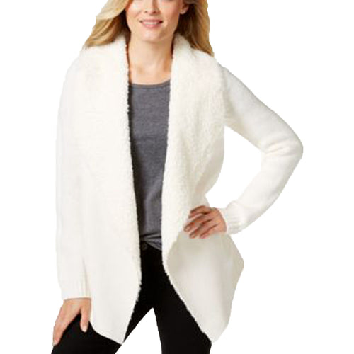 Charter Club White Long Sleeve Faux Fur Trim Cardigan Sweater
