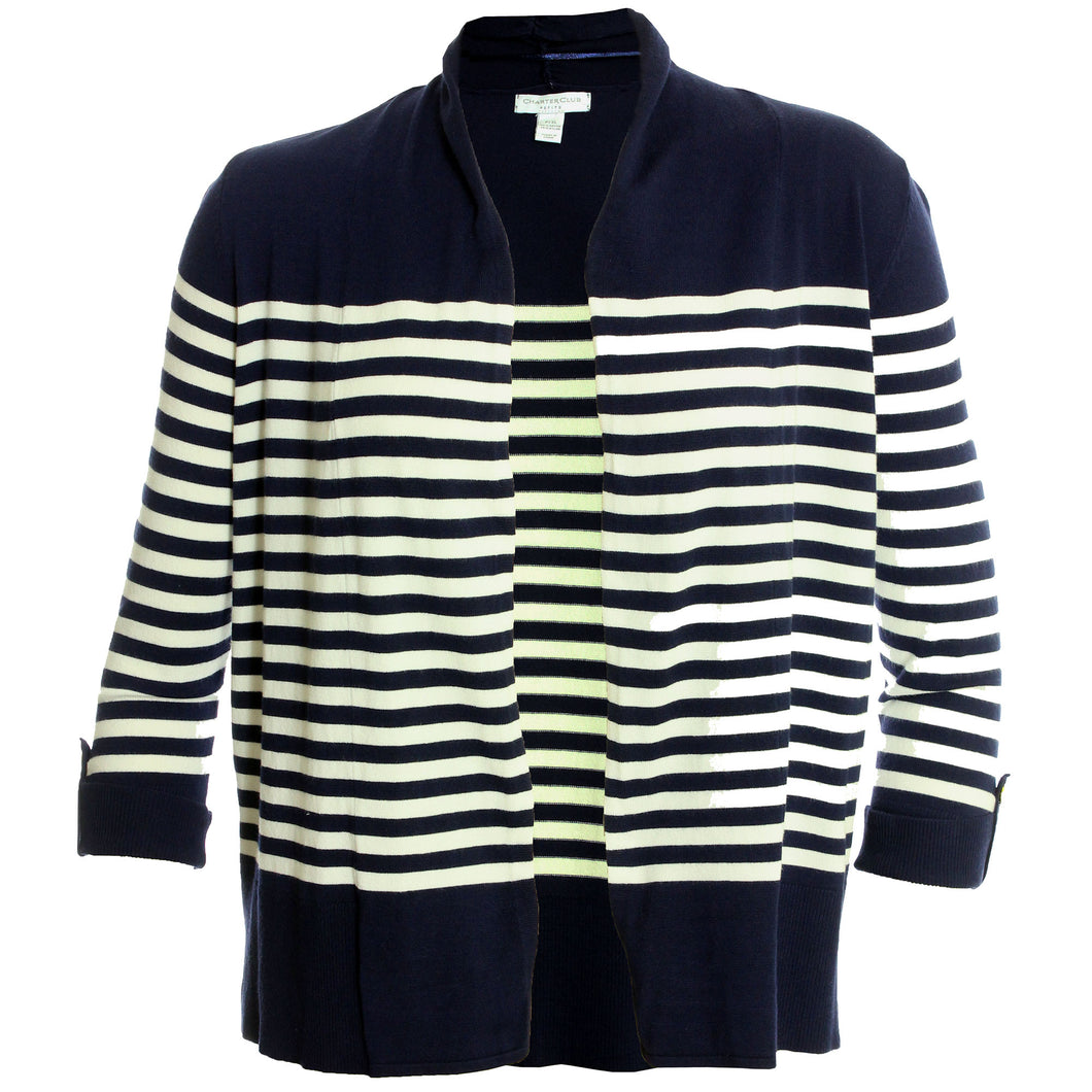 Charter Club Blue & White Striped 3/4 Sleeve Cardigan Sweater