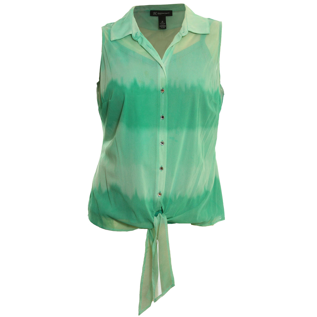INC Green Tie Dye Sleeveless Tie Front Button Down Shirt & Camisole