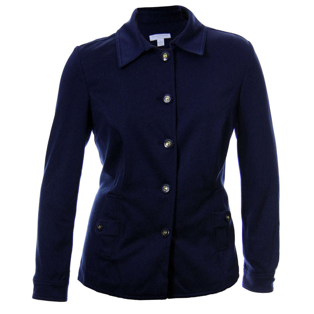 Charter Club Dark Blue Long Sleeve Button Front Ponte Knit Jacket