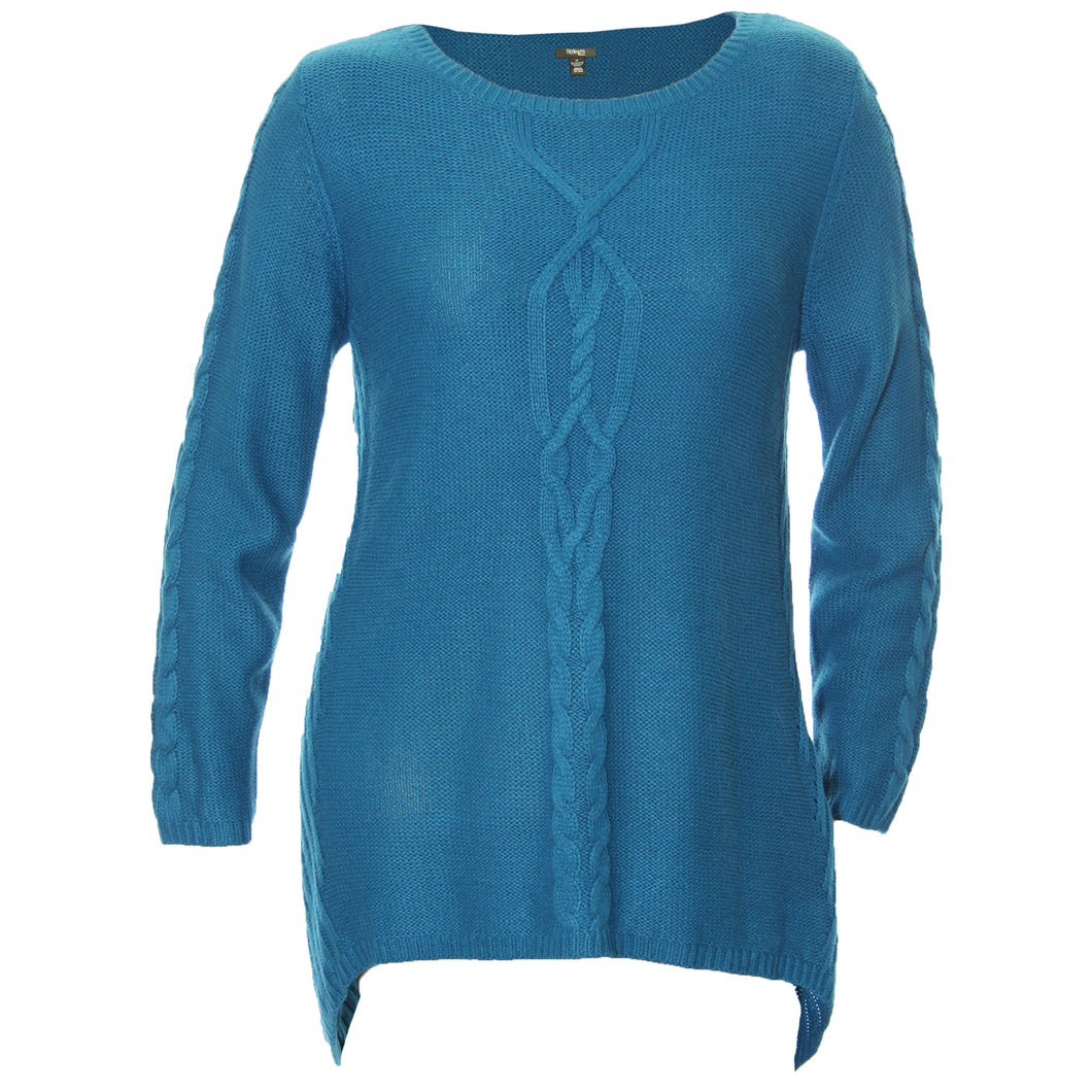 Style & Co Blue Long Sleeve Sharkbite Hem Sweater Plus Size