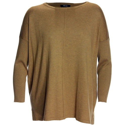 Style & Co. Brown Long Ribbed Sleeve Seamed Sweater