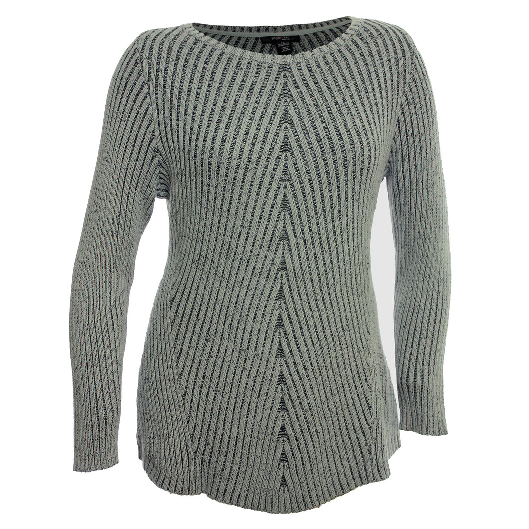 Style & Co. Gray Bi-Directional Ribbed Long Sleeve Sweater