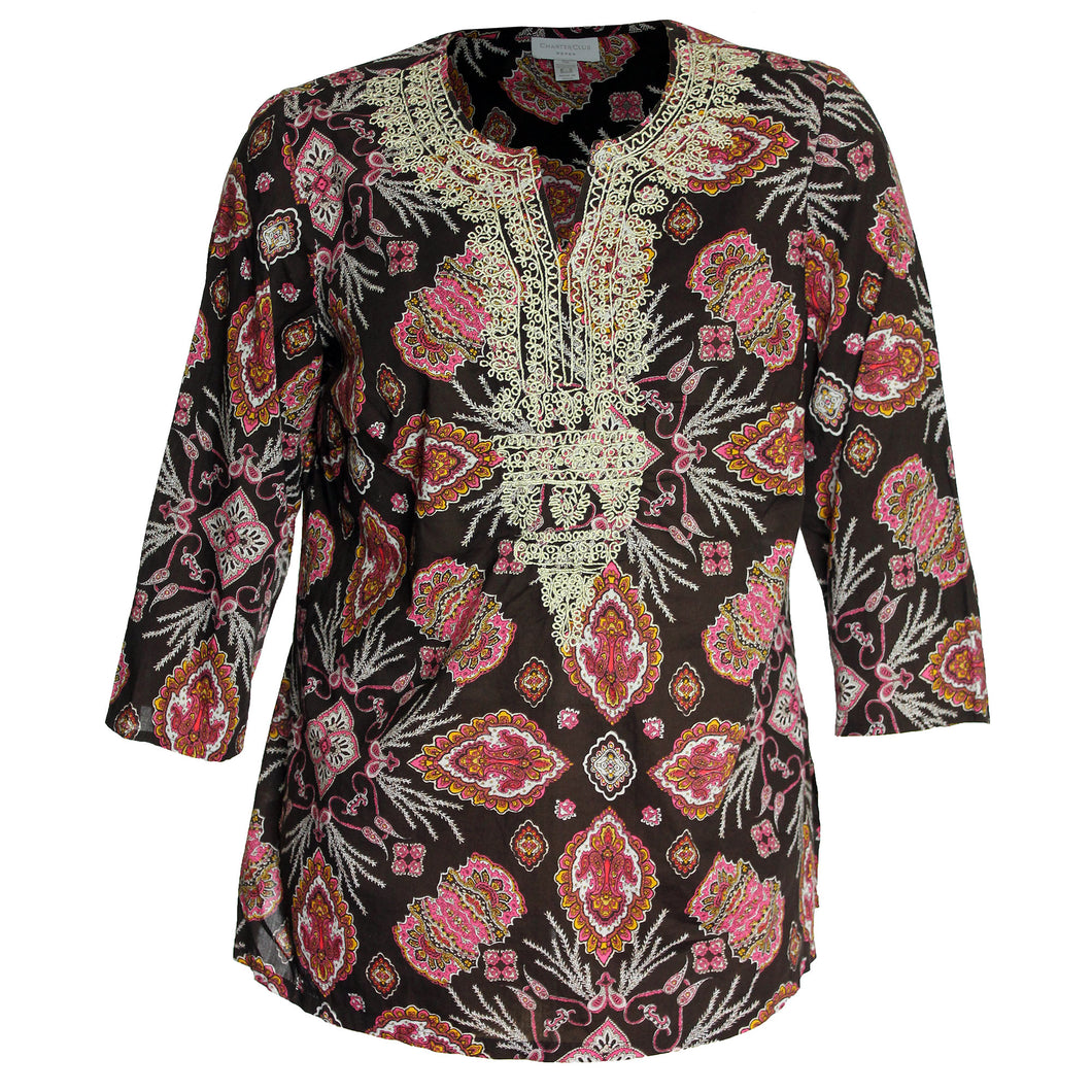 Charter Club Multi Color Print Embroidered Split Neck Tunic Blouse