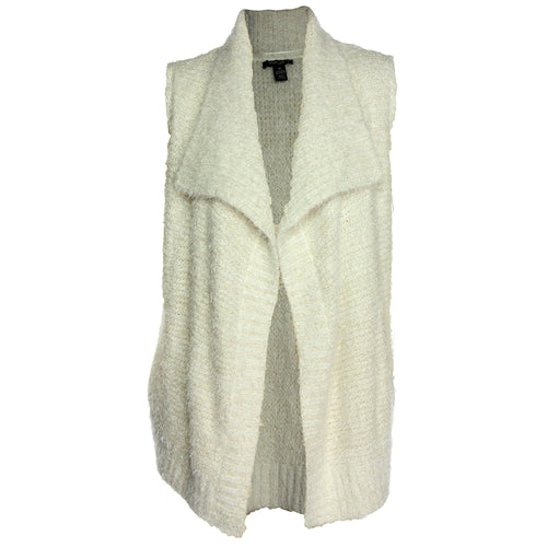 Style & Co Ivory Sleeveless Fluffy Open Front Sweater Vest
