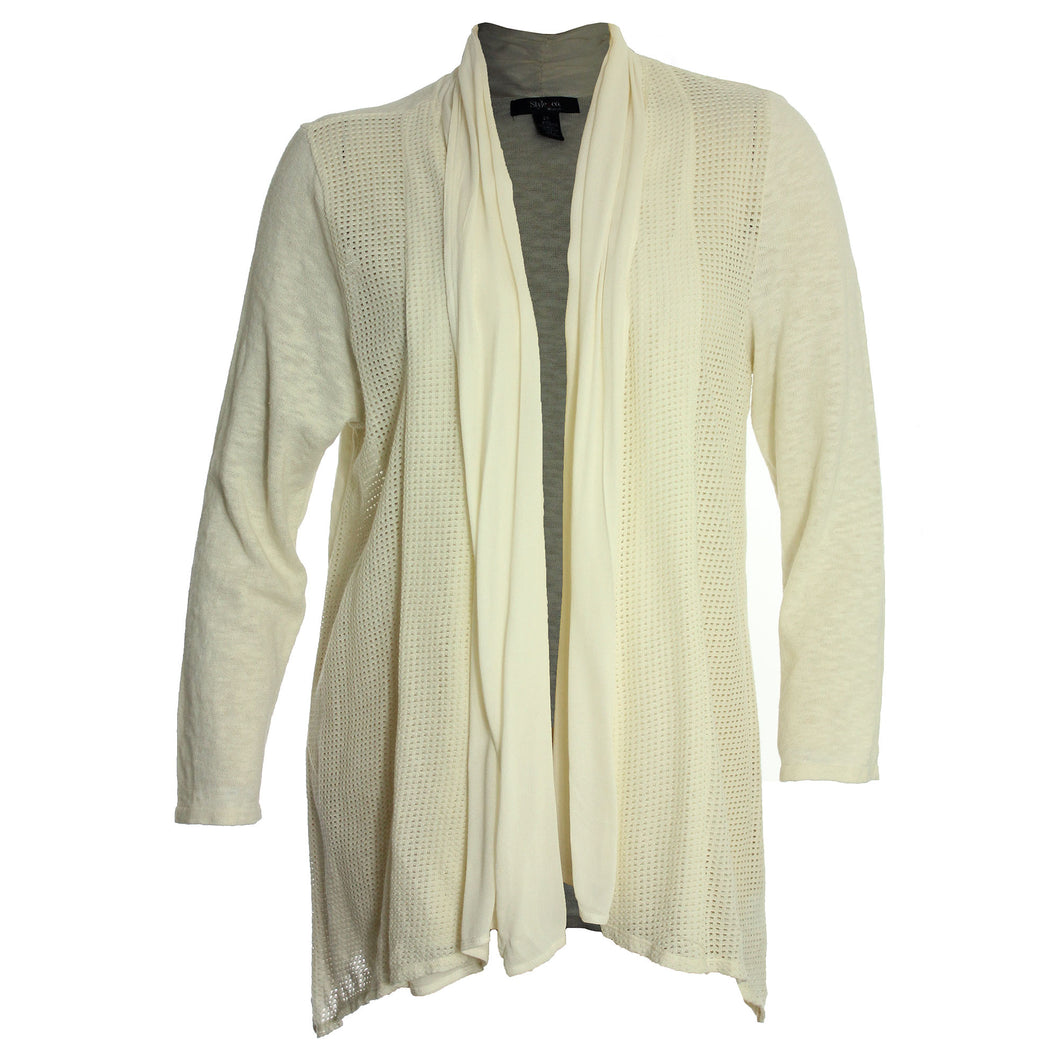 Style & Co. Black or Ivory Pointelle Trim Open Front Cardigan Sweater