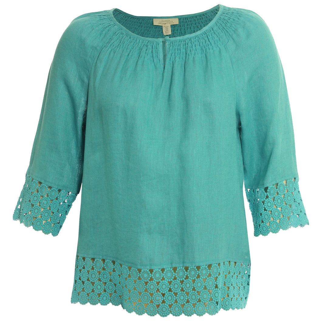 Charter Club Turquoise Blue 3/4 Sleeve Crochet Trim Blouse